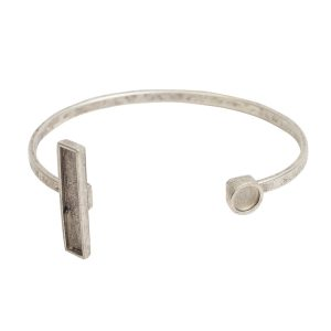 Cuff Bracelet Bezel Rectangle & CircleAntique Silver