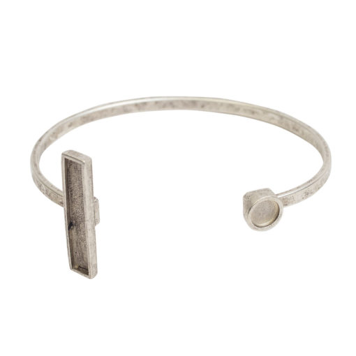 Cuff Bracelet Bezel Rectangle & CircleAntique Silver