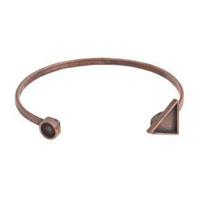 Cuff Bracelet Bezel Trangle & Circle<br>Antique Copper