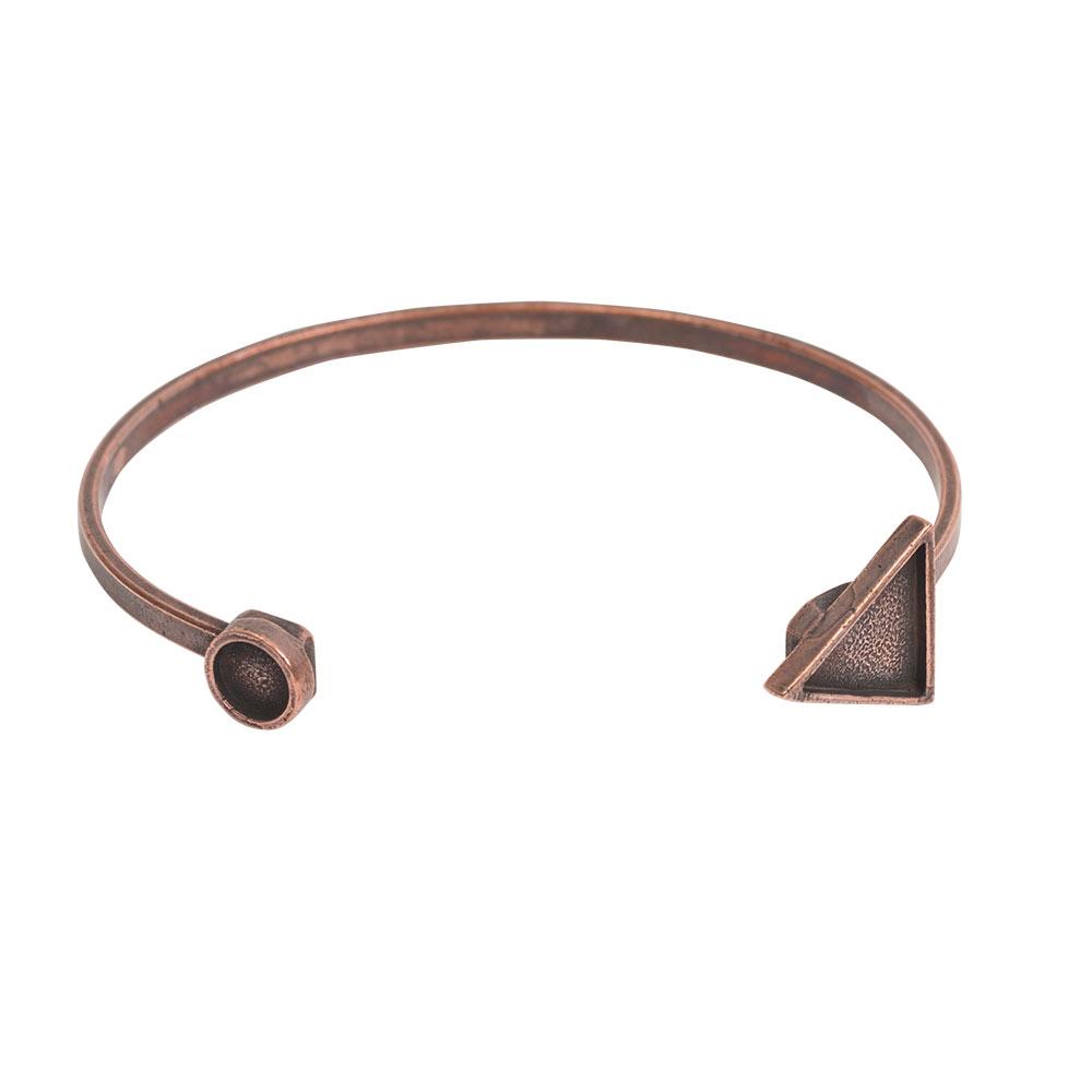 Cuff Bracelet Bezel Trangle & CircleAntique Copper