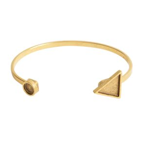 Cuff Bracelet Bezel Trangle & CircleAntique Gold
