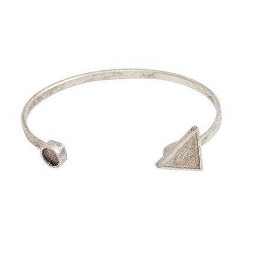 Cuff Bracelet Bezel Trangle & Circle<br>Antique Silver 1