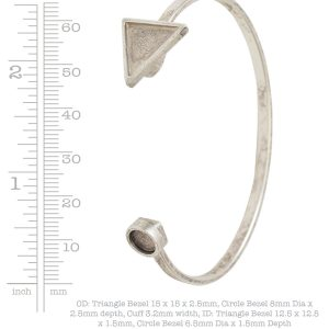 Cuff Bracelet Bezel Trangle & Circle<br>Antique Silver