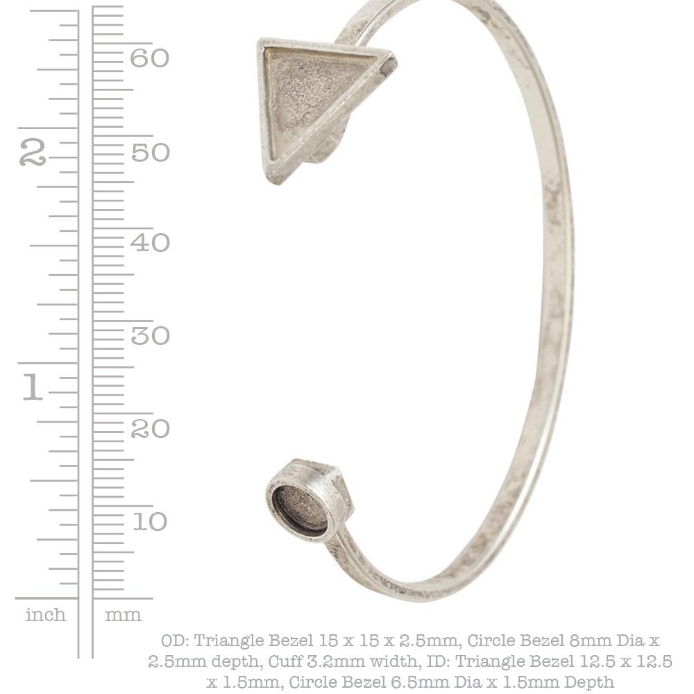 Cuff Bracelet Bezel Trangle & CircleAntique Silver