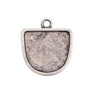 Grande Pendant Half Oval Single LoopAntique Silver