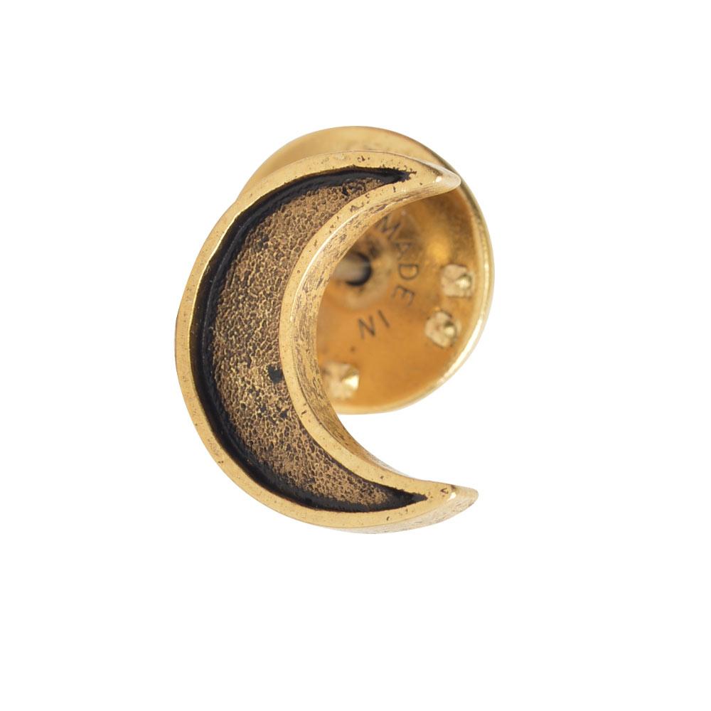 Lapel Pin Mini Crescent MoonAntique Gold
