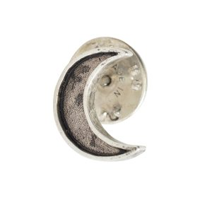 Lapel Pin Mini Crescent MoonAntique Silver