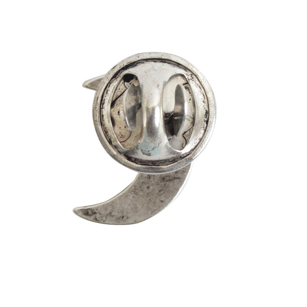 Lapel Pin Mini Crescent MoonAntique Silver