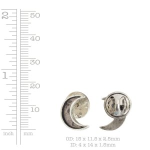 Lapel Pin Mini Crescent Moon<br>Antique Silver