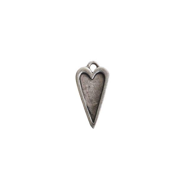 Mini Pendant Heart Single LoopAntique Silver