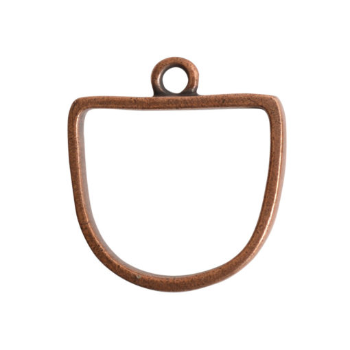 Open Pendant Half Oval Single LoopAntique Copper