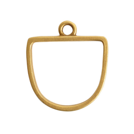 Open Pendant Half Oval Single LoopAntique Gold