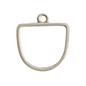 Open Pendant Half Oval Single LoopAntique Silver