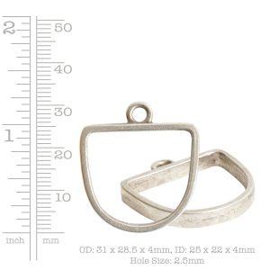 Open Pendant Half Oval Single Loop<br>Antique Silver