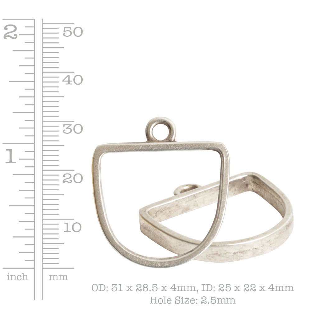 Open Pendant Half Oval Single LoopAntique Gold