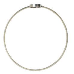Bangle Bracelet Open Frame Mini CircleAntique Silver