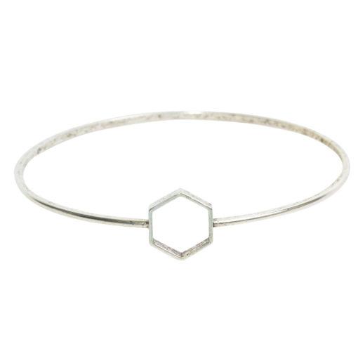 Bangle Bracelet Open Frame Mini HexagonAntique Silver