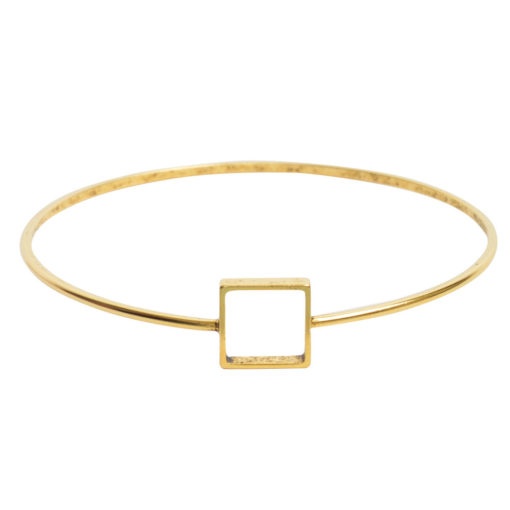 Bangle Bracelet Open Frame Mini SquareAntique Gold