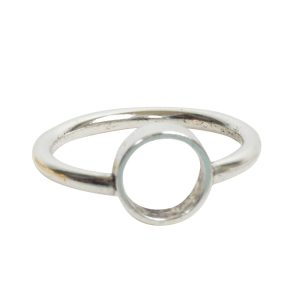 Ring Open Frame Itsy Circle Size 7Antique Silver