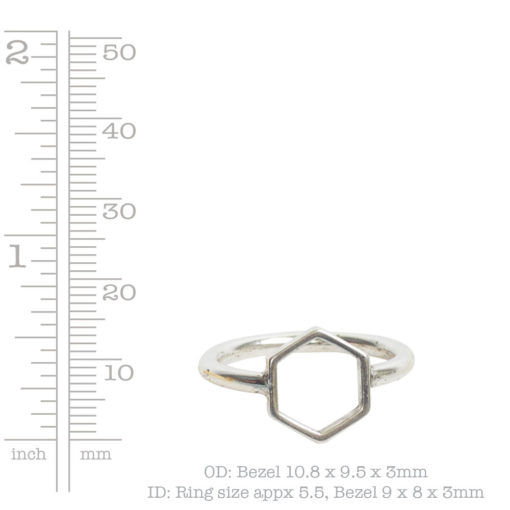 Ring Open Frame Itsy Hexagon Size 6Antique Silver