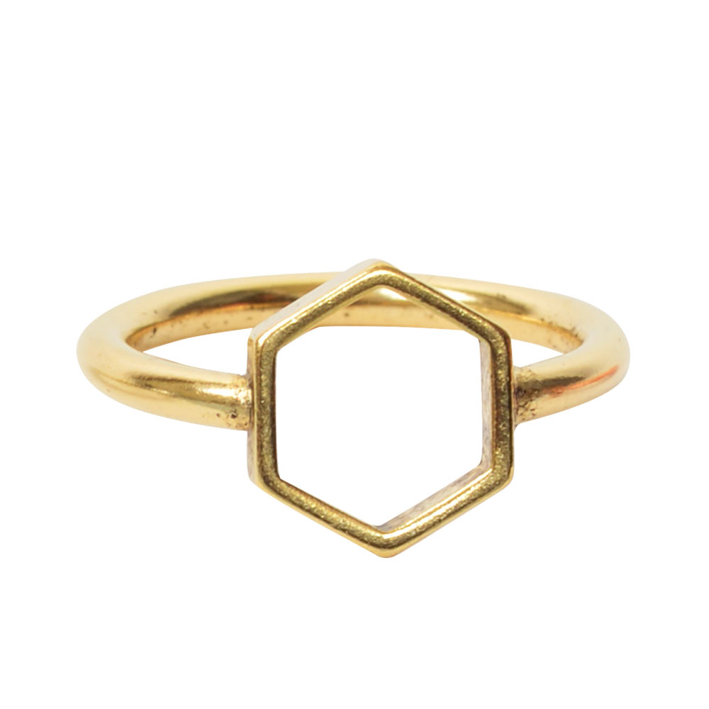 Ring Open Frame Itsy Hexagon Size 7Antique Gold