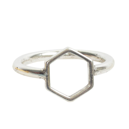 Ring Open Frame Itsy Hexagon Size 7<br>Antique Silver 1