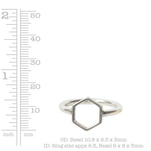 Ring Open Frame Itsy Hexagon Size 7<br>Antique Gold