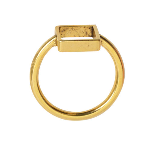 Ring Open Frame Itsy Square Size 6Antique Gold