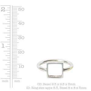 Ring Open Frame Itsy Square Size 6<br>Antique Silver