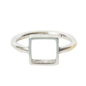 Ring Open Frame Itsy Square Size 7<br>Antique Silver