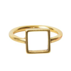 Ring Open Frame Itsy Square Size 8<br>Antique Gold