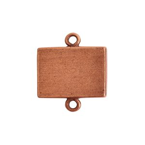 Mini Link Double Loop Rectangle HorizontalAntique Copper