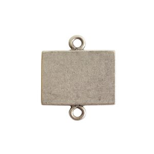 Mini Link Double Loop Rectangle HorizontalAntique Silver