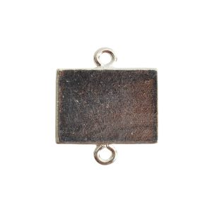 Mini Link Double Loop Rectangle HorizontalSterling Silver Plate