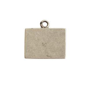 Mini Link Single Loop Rectangle HorizontalAntique Silver