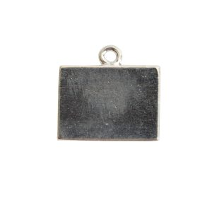 Mini Link Single Loop Rectangle HorizontalSterling Silver Plate