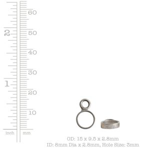 Open Frame Itsy Circle Single Loop<br>Antique Silver