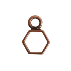 Open Frame Itsy Hexagon Single LoopAntique Copper
