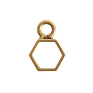 Open Frame Itsy Hexagon Single LoopAntique Gold