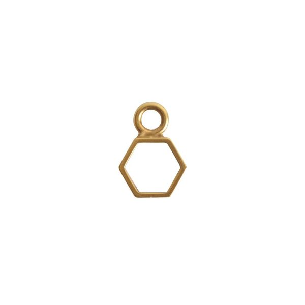 Open Frame Itsy Hexagon Single LoopAntique Gold