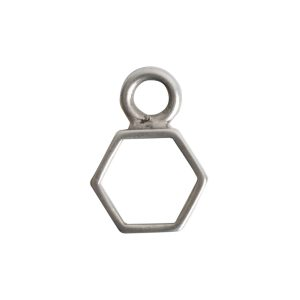 Open Frame Itsy Hexagon Single LoopAntique Silver