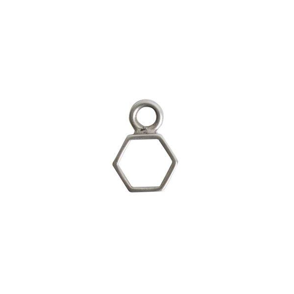 Open Frame Itsy Hexagon Single LoopAntique Silver