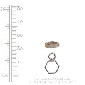 Open Frame Itsy Hexagon Single LoopAntique Copper