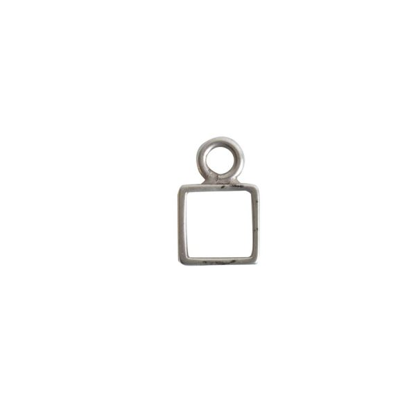 Open Frame Itsy Square Single LoopAntique Silver