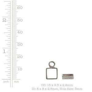 Open Frame Itsy Square Single Loop<br>Sterling Silver Plate