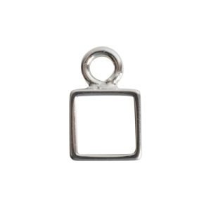 Open Frame Itsy Square Single LoopSterling Silver Plate