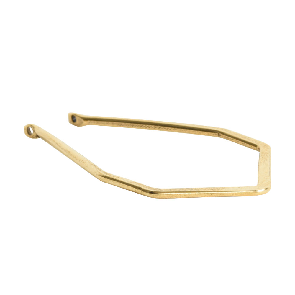 Wire Frame Open Diamond Long Double HoleAnitque Gold