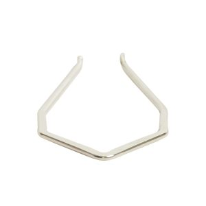 Wire Frame Open Diamond Long Double HoleSterling Silver Plate