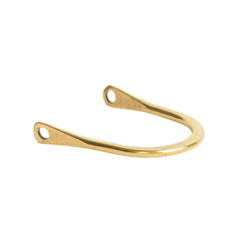 Wire Frame Open Horseshoe Short Double HoleAnitque Gold