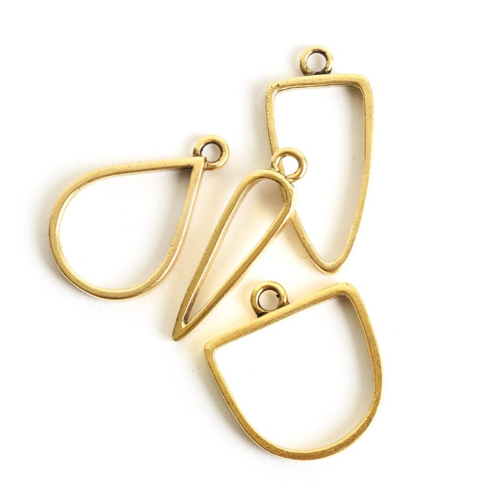 Buy & Try Findings Open Pendant Combo PackAntique Gold